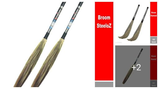 VIGUNI (Diamond) Natural Grass Soft Broom for floor cleaning - 110cm Long (2pc)
