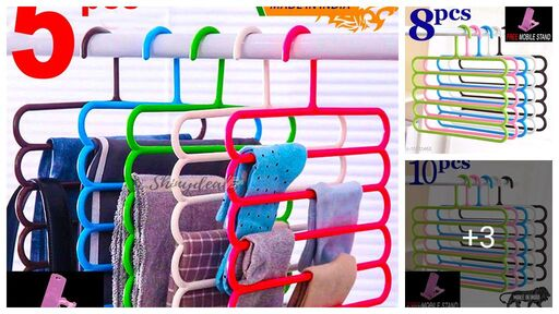 FREE 1 PCS MOBILE STAND WITH Space Saving Plastic Multi-Functional Storage Wardrobe  Organizer Hanger for Shirts, Pants, Skirts (Set of 4, MultiColor )