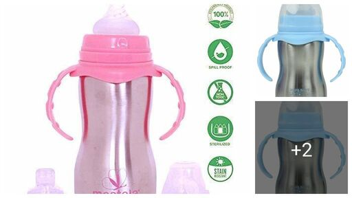 Stainless Steel Newborn Baby (2 in 1) Sipper/Feeding Bottle | Steel Feeder Cum Sipper - 290ml (Multicolor)