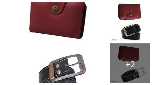 Men's Leather Wallets & Belts Combo