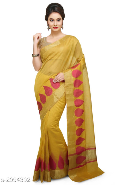 Sarees Elegant Chanderi SilkWomen's Sarees  *Fabric* Saree - Chanderi Silk , Blouse - Chanderi Silk  *Size* Saree Length With Running Blouse - 6.30 Mtr  *Color* Mustard  *Work* Zari Woven  *Sizes Available* Free Size *    Catalog Name: Aasmaa Solid Chanderi Chanderi Silk Sarees CatalogID_408730 C74-SC1004 Code: 279-2994392-