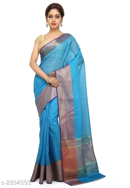 Sarees Elegant Chanderi SilkWomen's Sarees  *Fabric* Saree - Chanderi Silk , Blouse - Chanderi Silk  *Size* Saree Length With Running Blouse - 6.30 Mtr  *Color* Blue  *Work* Zari Woven  *Sizes Available* Free Size *    Catalog Name: Aasmaa Solid Chanderi Chanderi Silk Sarees CatalogID_408730 C74-SC1004 Code: 378-2994393-