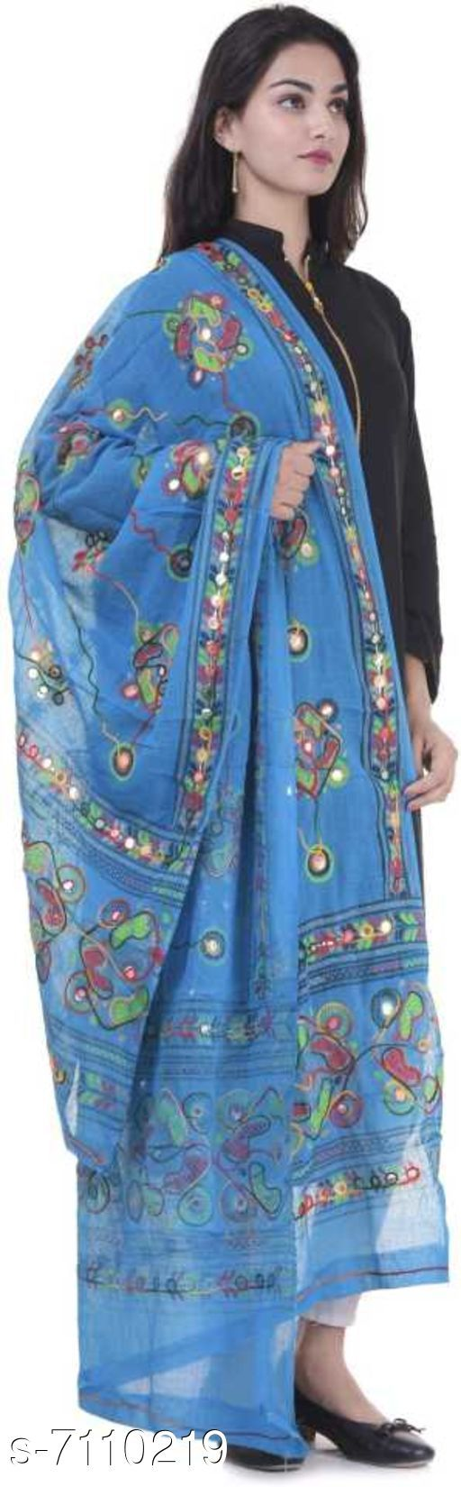 Dupattas Ethnic Pure Cotton Embroidered Women Dupatta Fabric: Cotton Pattern: Embroidered Multipack: 1 Sizes:Free Size (Length Size: 2.25 m)  Country of Origin: India Sizes Available: Free Size *Proof of Safe Delivery! Click to know on Safety Standards of Delivery Partners- https://ltl.sh/y_nZrAV3  Catalog Rating: ★4 (510)  Catalog Name: Ravishing Stylish Women Dupattas CatalogID_1134945 C74-SC1006 Code: 622-7110219-