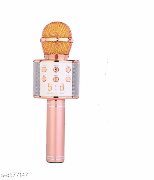 Microphone Wireless Bluetooth Handheld Microphone Stand Karaoke Mike with Speaker Audio Recording for Cellphone (Rose Gold) Product Name: Wireless Bluetooth Handheld Microphone Stand Karaoke Mike with Speaker Audio Recording for Cellphone (Rose Gold) Country of Origin: India Sizes Available: Free Size   Catalog Rating: ★3.7 (47)  Catalog Name: Microphone CatalogID_1523408 C98-SC1504 Code: 874-8877147-